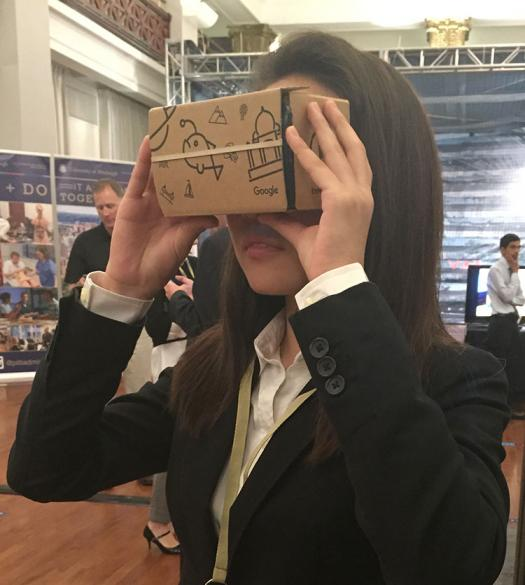 Jiwoo wore a virtual reality headset to explore the International Space Station.