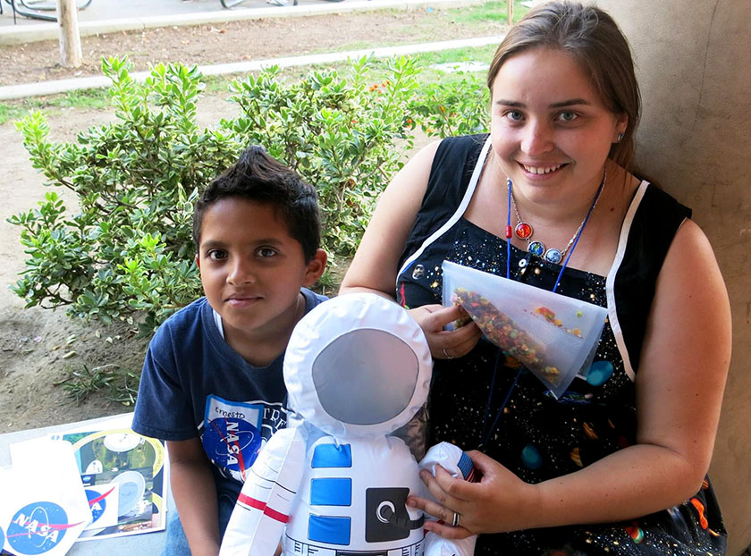 Dieuwertje Kast, a previous Grand Awards Judge for Intel ISEF, hosted a Space Health and Fitness Workshop for 4th and 5th graders at Norwood Elementary School in Los Angeles, California.