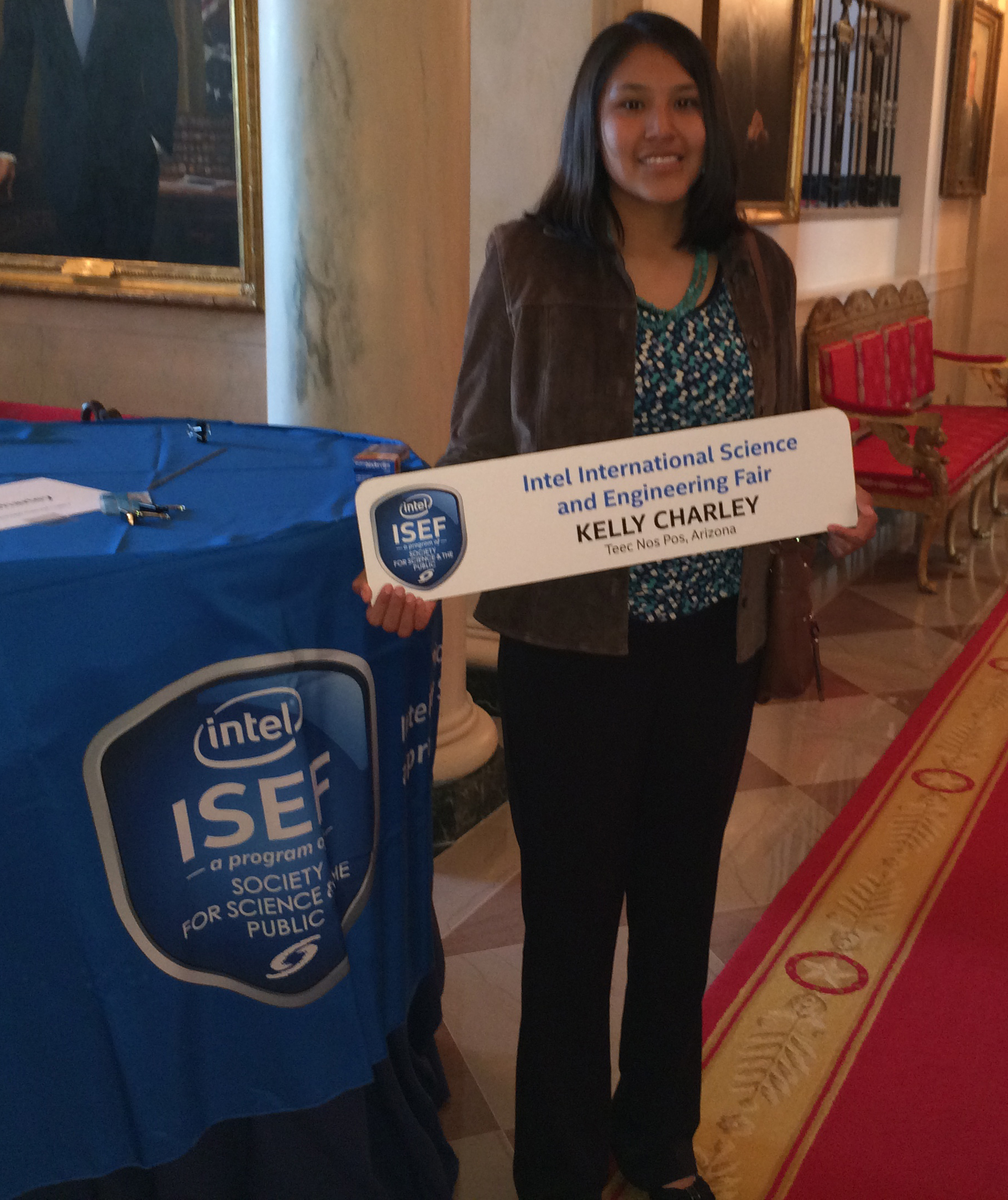 Kelly Charley, Intel ISEF 2014 finalist, represented the competition at the White House Science Fair.