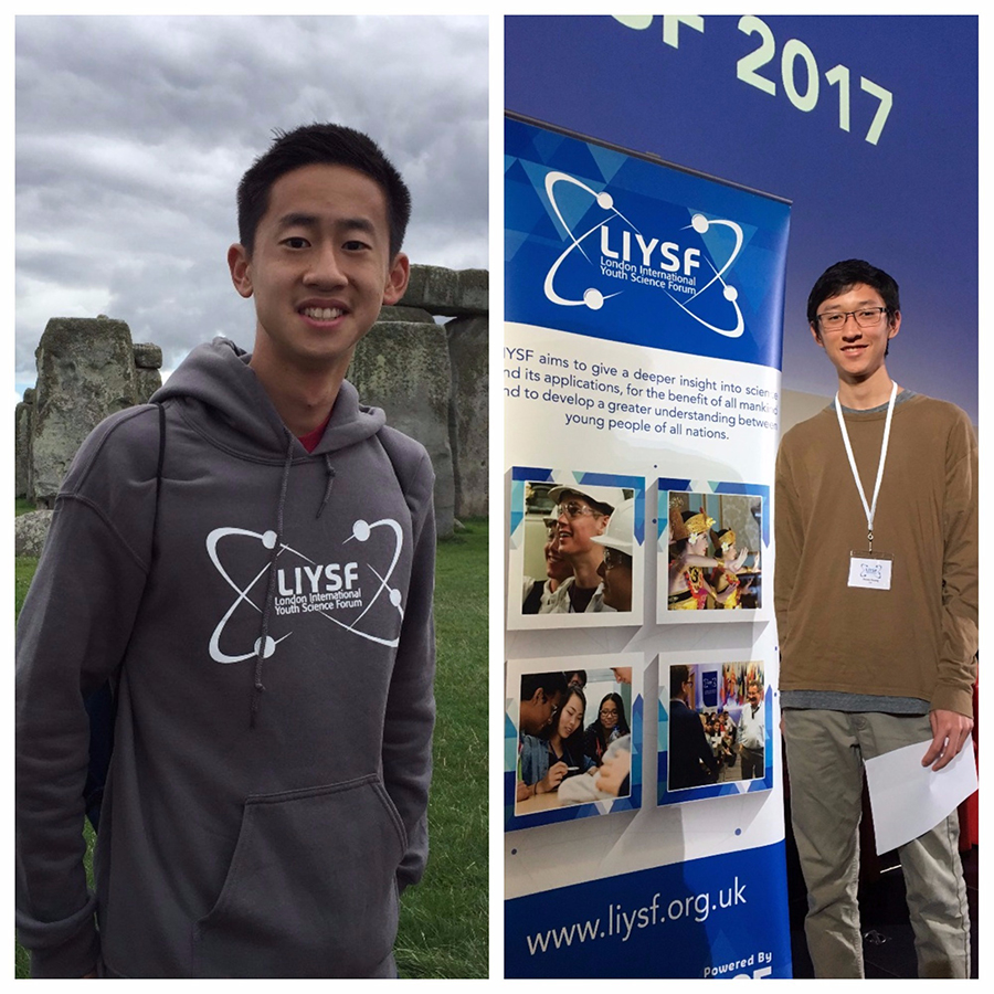 Intel ISEF alumni Daniel Zhang (left) and Davey Huang (right) traveled to the United Kingdom to participate in the London International Youth Science Forum.