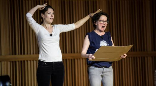 Lizzie Fox and Anne Gridely perform in one of Jerry's previous plays.