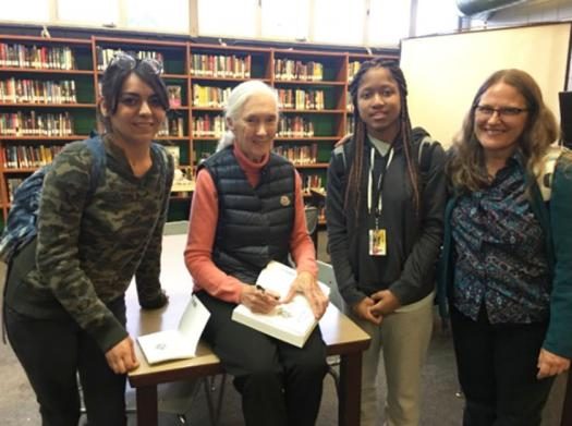 Linda (right) with a few of her students and Jane Goodall, who supported her school's garden.