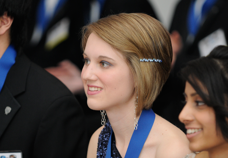 Meghan Shea at the medaling ceremony during Intel STS 2013
