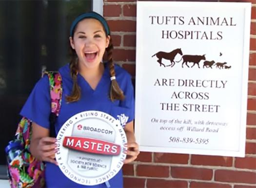 Madison on her first day at the veterinary summer program.