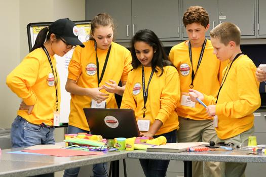 Meghna Behari, center, participated in a challenge during Broadcom MASTERS 2017.
