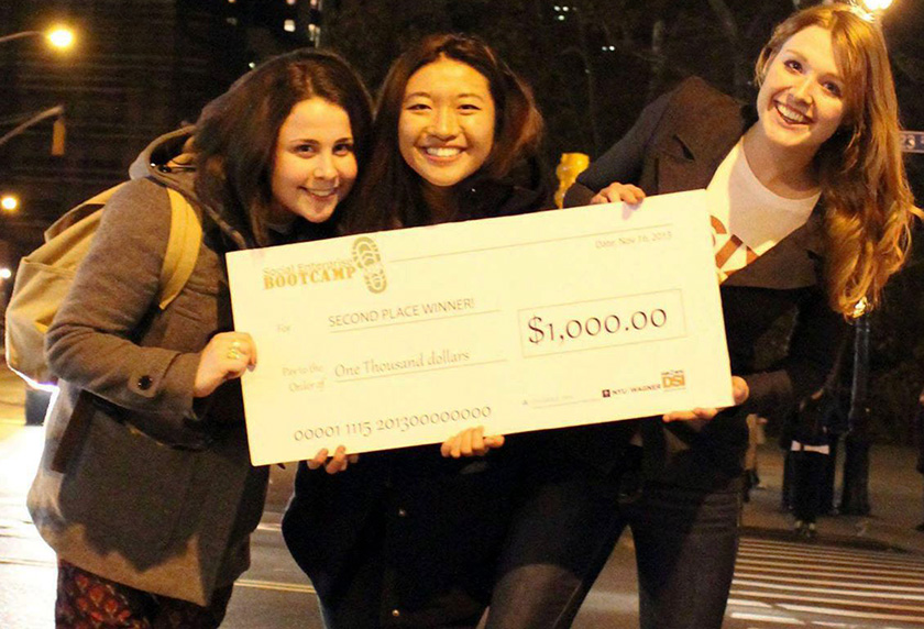 Meryl Natow, Rose Wang, and Laura D'Asaro founded Six Foods, which markets insects as the future of food. Here, they're pictured after winning a pitch competition in New York.