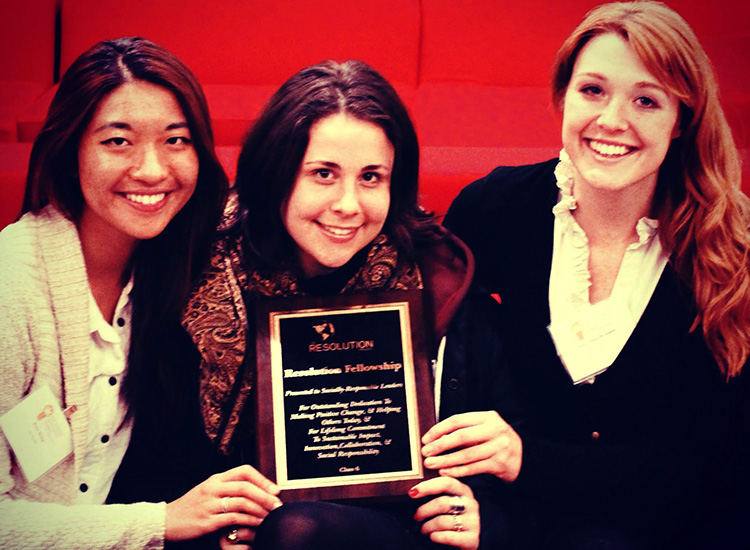 Meryl with the Six Foods cofounders hold their Resolution Project award. PHOTO COURTESY OF MERYL NATOW.