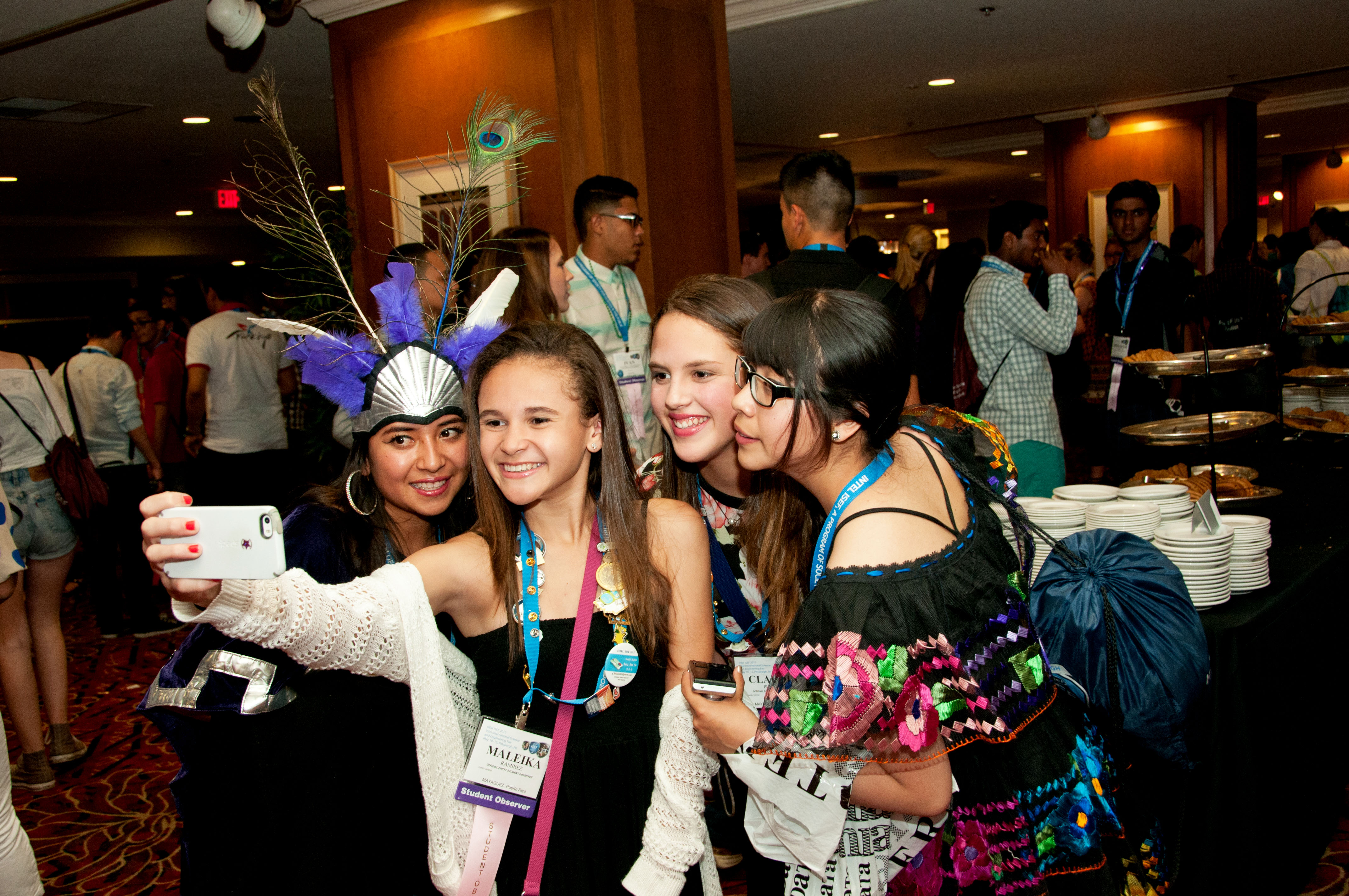 Intel ISEF 2015 finalists gather at the Student Pin Exchange.