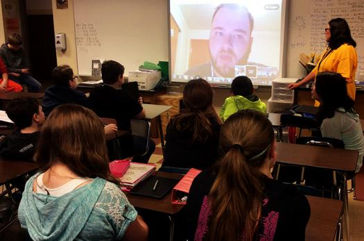 Logan often talks to classes on Google Hangout to explain his scientific research and expand their idea of scientists.