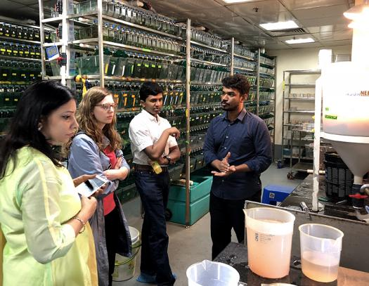 Clara and Rahul visited several labs and research institutes while in India.