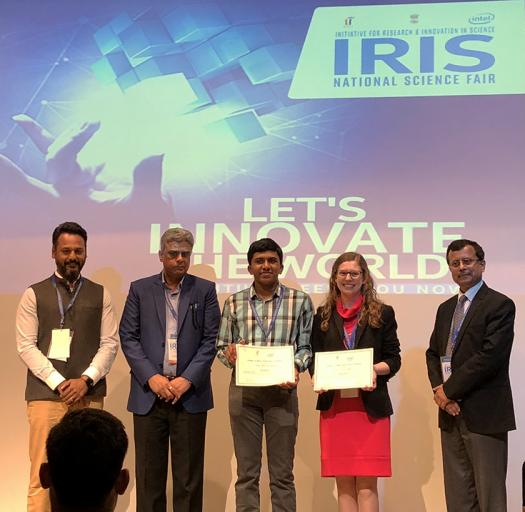 Rahul and Clara (center) attended the IRIS Fair, learning about cutting-edge research that Indian scientists are conducting.