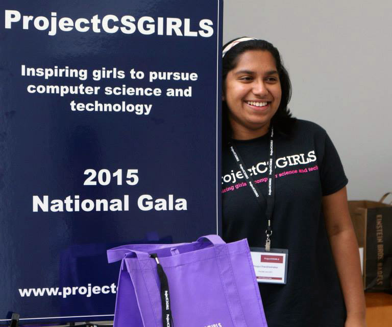 Teaching and motivating girls at a ProjectCSGIRLS event.