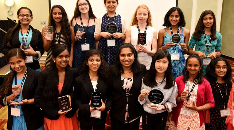 The 2016 ProjectCSGIRLS National Finalists, with Pooja in the center, at George Mason University for the national gala.