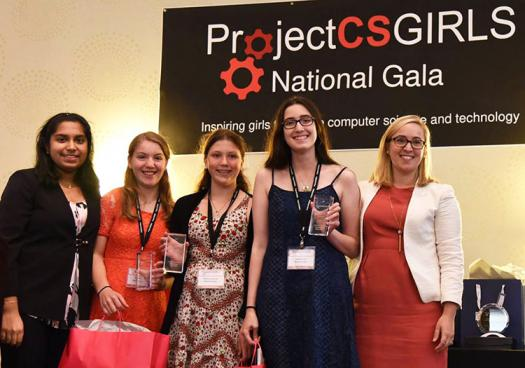 ProjectCSGirls national winners at the 2016 National Gala, with the Society's Associate Director of Science Education Programs and Manager of Broadcom MASTERS Allie Stifel (right).