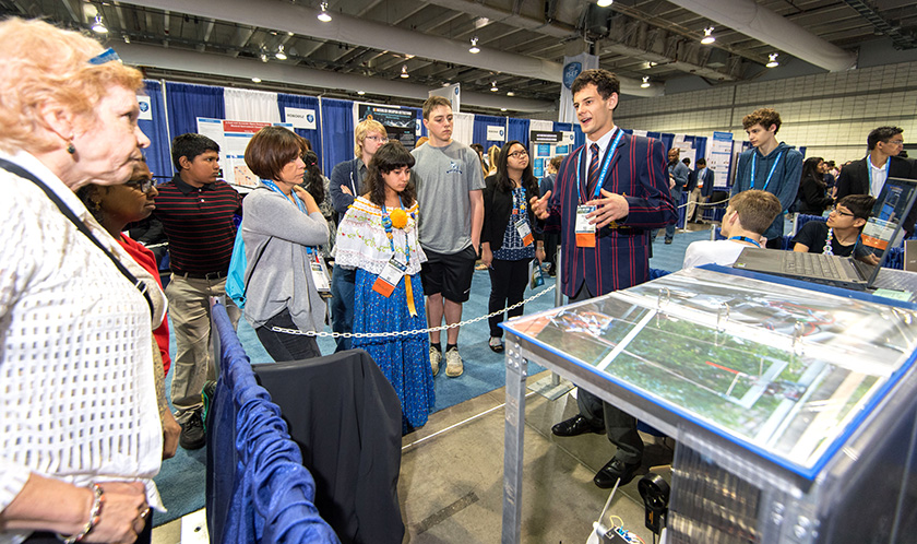 Oliver Nicholls, 19, of Sydney, Australia was awarded first place for designing and building a prototype of an autonomous robotic window cleaner for commercial buildings at Intel ISEF 2018.