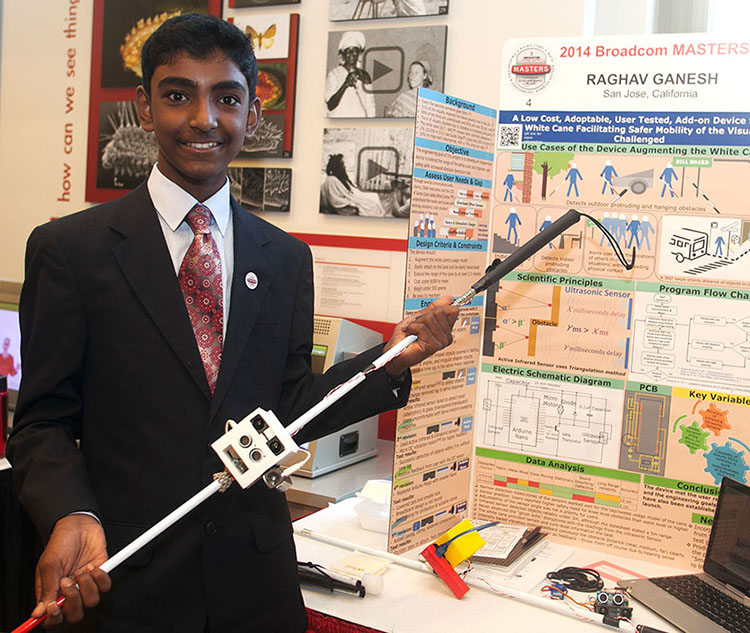 Raghav Ganesh won the Rising Stars Award for creating an interactive add-on for a white cane for the visually impaired at Broadcom MASTERS 2015.PHOTO COURTESY OF SOCIETY FOR SCIENCE & THE PUBLIC.