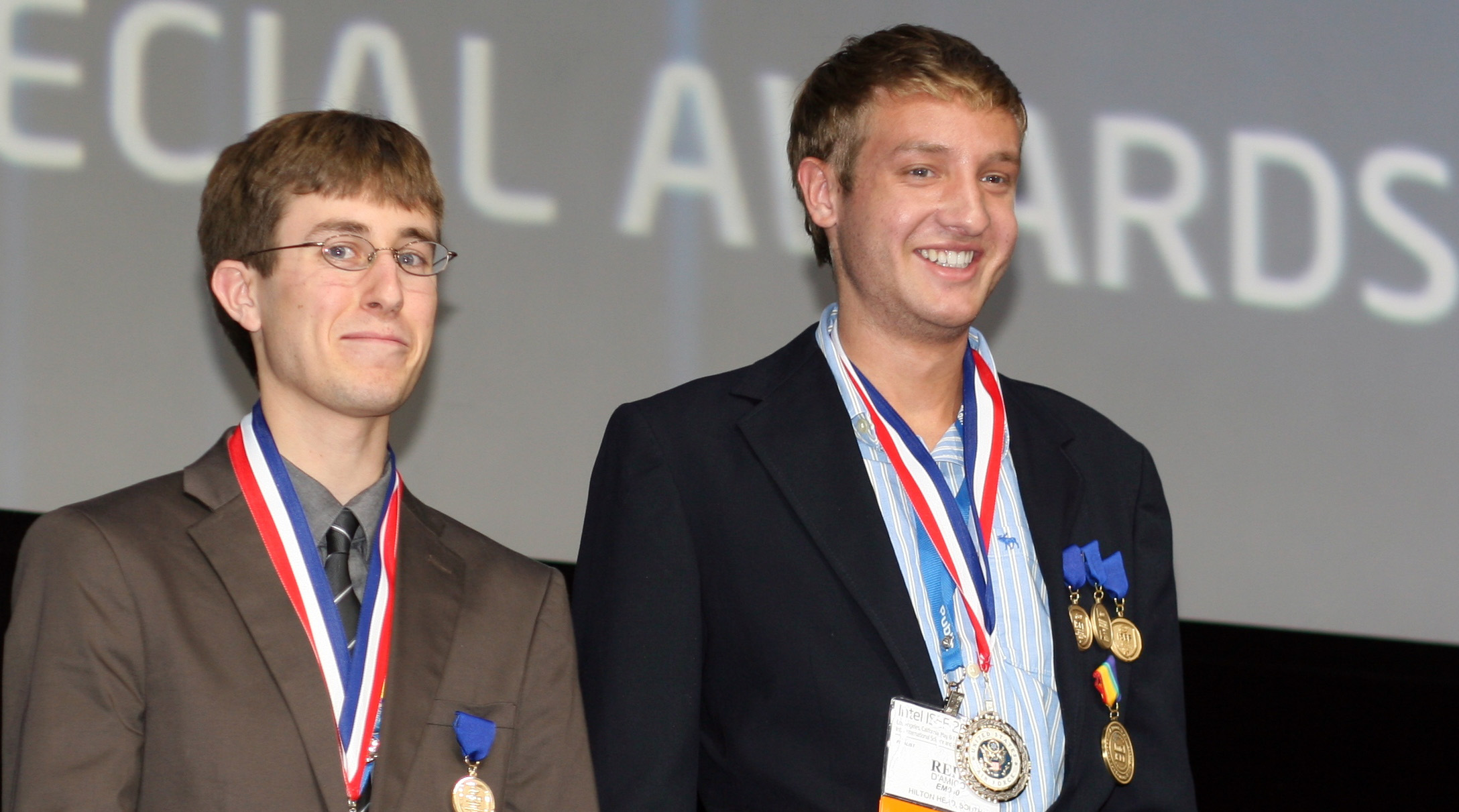 Reid D'Amico (right) receiving a Special Award from the U.S. Air Force at Intel ISEF 2011.