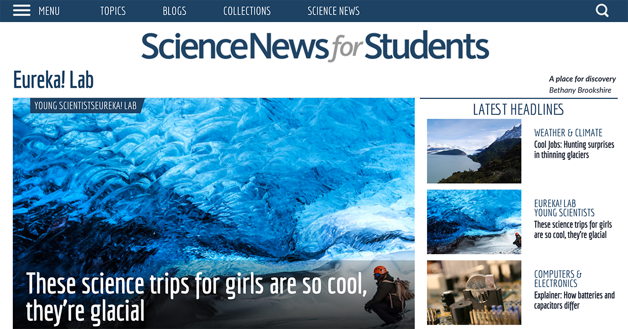 Science News for Students website