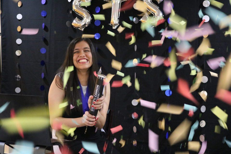 STS 2021 Finalist Laalitya Acharya celebrating
