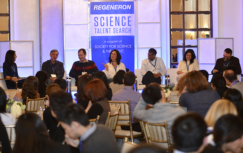 Regeneron scientists spoke on a panel, offering advice to the finalists.
