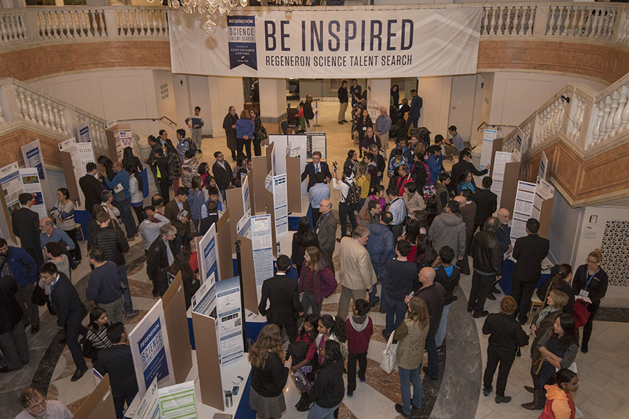 The Regeneron STS public exhibition of projects, packed with the public, learning about the finalists' research.