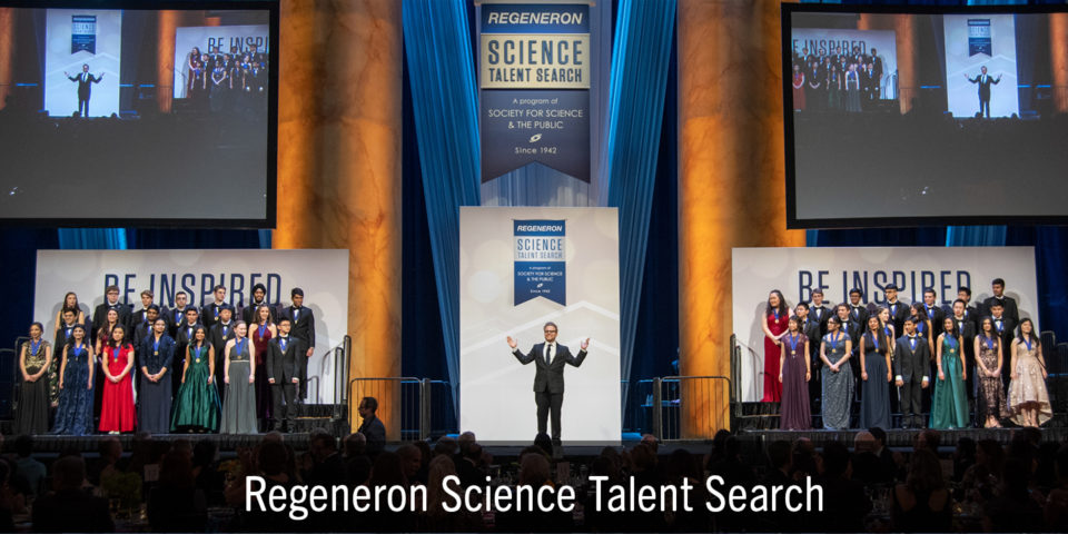 2019 Regeneron Science Talent Search finalists on stage at the gala at theat the National Building Museum