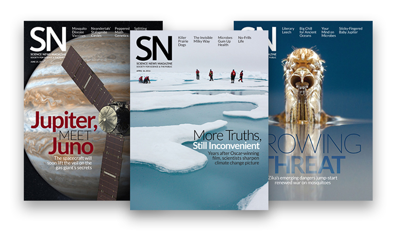 Science News Magazine covers 2016