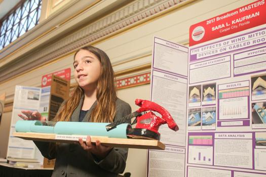Sara Kaufman displayed her research during the Broadcom MASTERS 2017 project showcase.