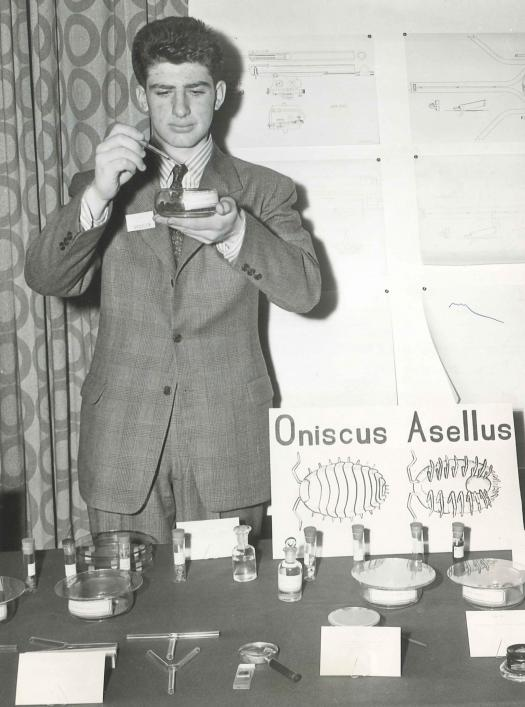 Andrew Sessler with his project at the 1945 Westinghouse Science Talent Search.