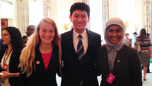 (From left) Brenna Wallin, Eric Chen, and Zarin Rahman at the 2014 White House Science Fair.
