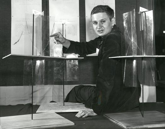 Frank Sandy with his project in the 1954 Science Talent Search.