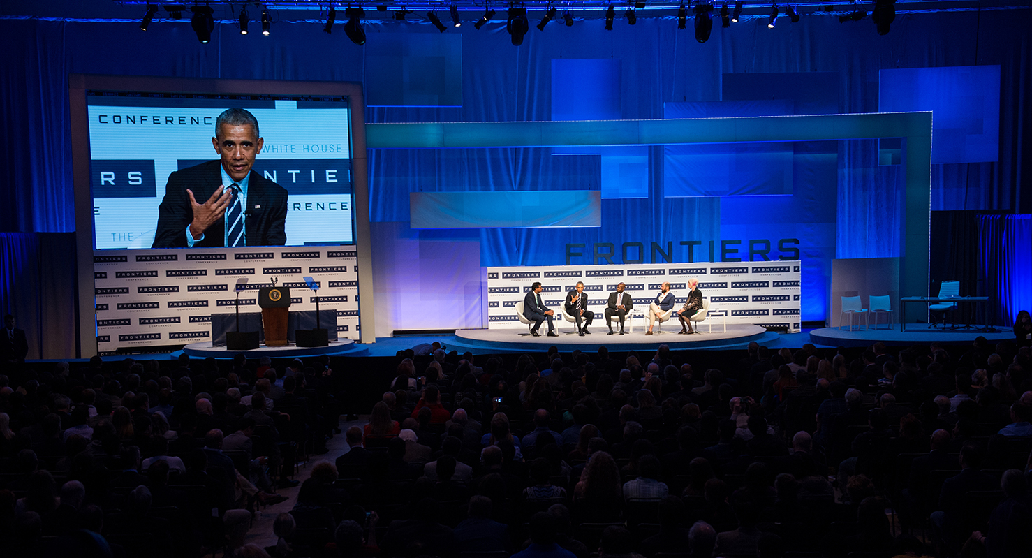 President Barack Obama speaks on a panel on brain science and medical information at the White House Frontiers Conference Thursday, October 13, 2016 at Carnegie Mellon University in Pittsburgh, PA.