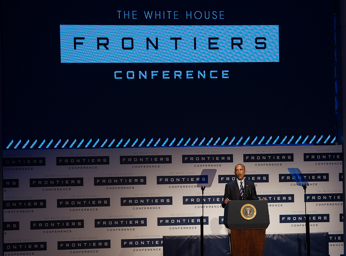 resident Barack Obama speaks at the White House Frontiers Conference Thursday, October 13, 2016 at Carnegie Mellon University in Pittsburgh, PA.