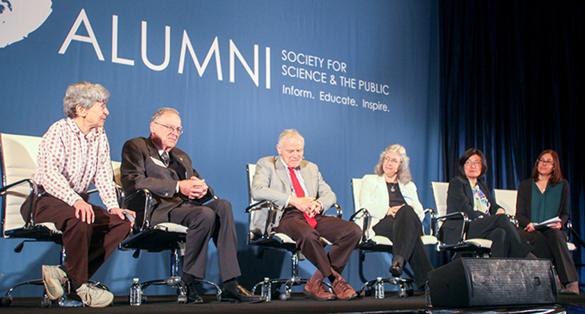 From left: Westinghouse STS alumni Lisa Steiner, Ted Hoff, Leroy Hood, Debra Elmegreen, and Sojin Ryu described the importance of research and their academic journeys at the Alumni Conference.