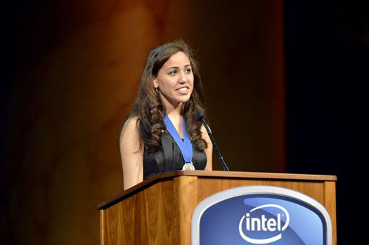 Alexa Dantzler spoke on behalf of the 2013 Intel STS class at the STS Awards Gala as a Seaborg Award Winner. Photo courtesy of the Society.