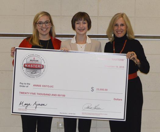 Annie Ostojic (center) was the top winner of the 2015 Broadcom MASTERS.
