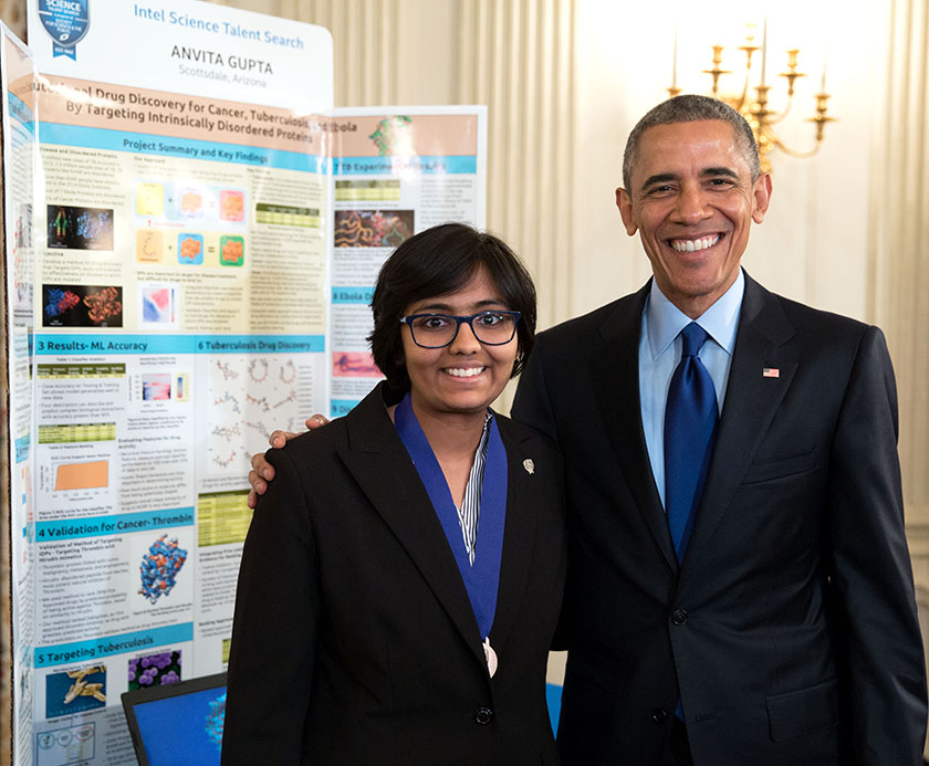 Anvita presented her Intel STS research to President Obama at the White House Science Fair.