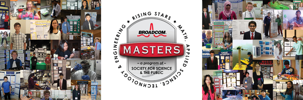 Collage of students at their boards with Broadcom MASTERS logo