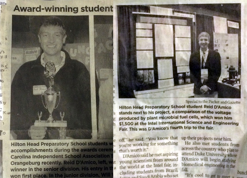 Newspaper clippings lauding Reid's Intel ISEF accomplishments.