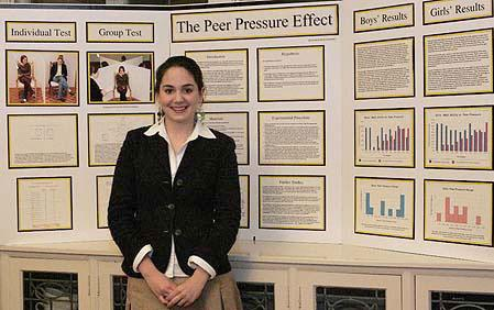 Cristina researched peer pressure for her Intel ISEF project.