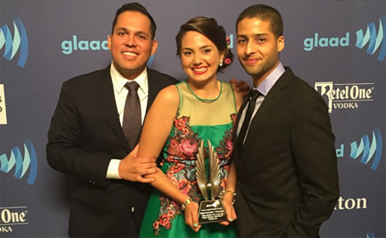 Cristina and her Fusion team after winning a GLAAD award last year.