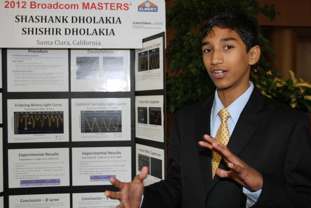 Shashank Dholakia describing their research project at Broadcom MASTERS.