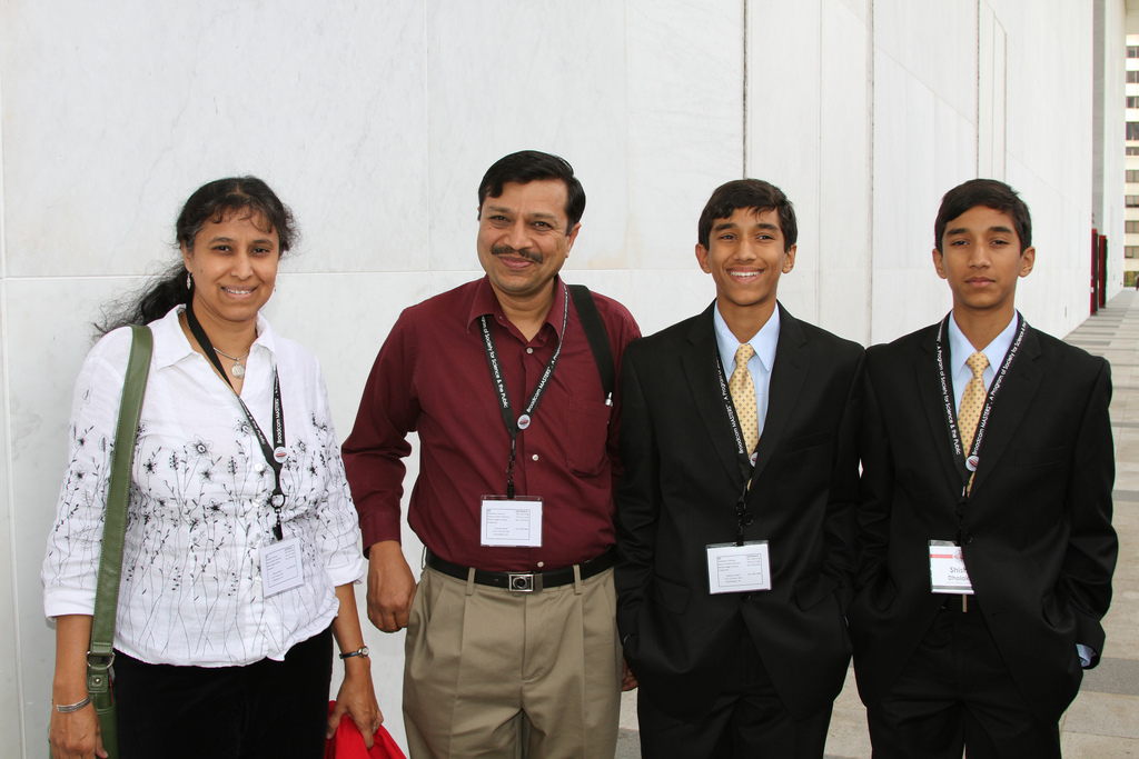 The Dholakia brothers with their parents at Broadcom MASTERS.