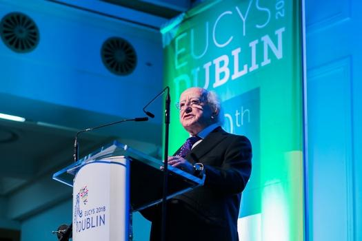 President of Ireland Michael D. Higgins stands at a podium