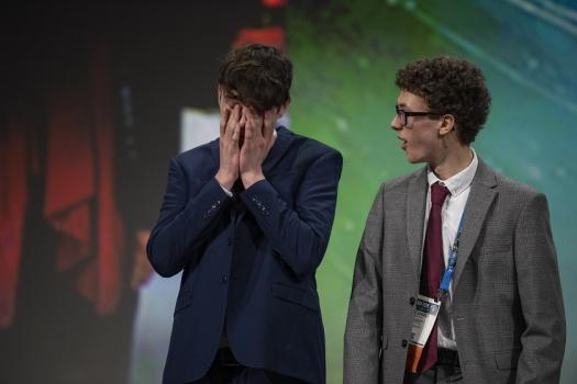 Richard Beattie and Dylan Bagnall overcome with emotion during Grand Award Ceremony