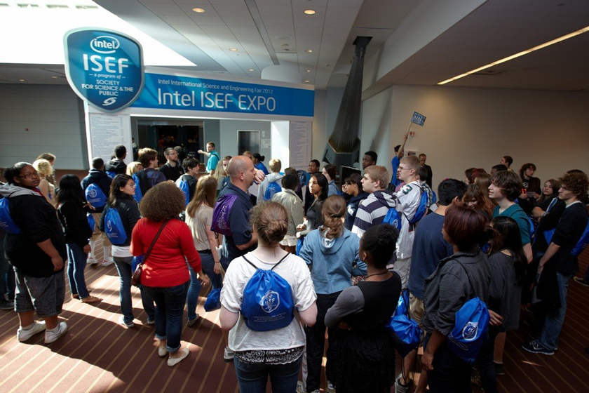 Students at the Intel ISEF Expo Hall