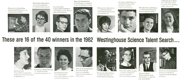 Bios of 16 of the 40 Westinghouse STS 1962 winners.