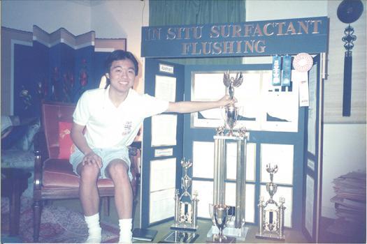 Gideon Yu with his science fair awards.