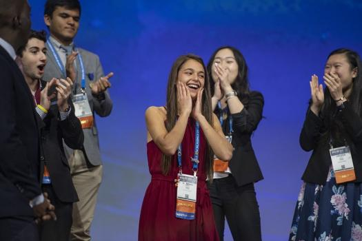 Hannah learning she won the best of category award during the Intel ISEF 2019 Grand Awards Ceremony