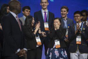 Happy girl winners at Intel ISEF